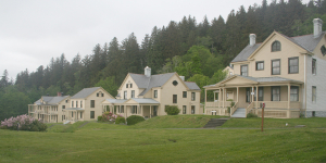 Washington State Parks Fort Columbia: Left to right are the barracks, administration bulding, double officers quarters, and commanding officers quarters.